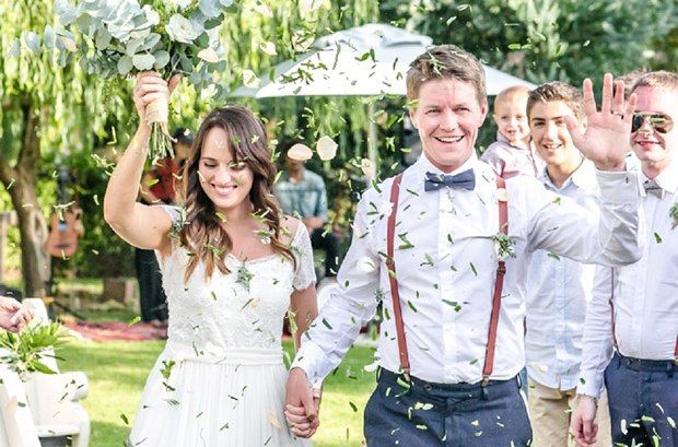 Bride and Groom Showered with Confetti, Claire Nicola Photography Cape Town Wedding Photographer