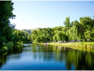 Grass Banks Next to the Weir at Elandskloof Forest Wedding Venue Overberg